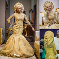 Wholesale Traditional Beaded Lace - 2015 Gold African Traditional Lace Wedding Gowns Beaded Jewel Neck Beaded Appliques 3 4 Long Sleeves Tulle Chapel Train 2016 Bridal Gowns