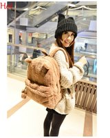 Wholesale Cute Panda Backpacks - Cute Women Backpacks Style Panda Schoolbag Winter Fleece Plush Bag College Campus Book School Bear Backpack Black Brown Khaki Bags SV010095
