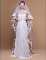 Wholesale Scalloped Edge Veil Bead - New Popular Best Sale Free Shipping One-tier Chapel Wedding Veils With Scalloped Lace Applique Edge 008