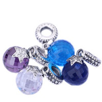 Wholesale Large Crystal Silver Rings - Rainbow Pandora Ring Large Purple Crystal Glass Beads Charm Bracets Set Diamond for DIY Pandora Bracelets Charms PJ0053-1