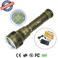 Wholesale Pool Torches - 2015 New DX5 8000LM Underwater 100MDiving Waterproof 5x CREE XM-L2 LEDFlashlight Torch Lamps + 2x18650 Battery + Charger