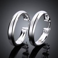 Wholesale Solid Silver Hoop Earrings - Unique Thick Circles earrings 925 sterling solid silver e595 Fashion 2015 New Jewelry accessary