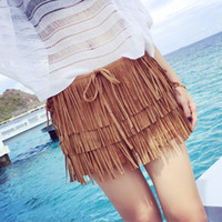 Wholesale Hot Sexy Girls Leather - 2016 S M L Brown Black Fashion Women Female Girls Casual Sexy Shorts Skirts Faux Suede Fringe Tassel Tiered Bohemia Boho Ethnic Hot Shorts