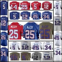 Uomo Buffalo 25 LeSean McCoy 5 Tyrod Taylor 12 Jim Kelly 14 Sammy Watkins 34 Thurman Thomas Embroidery Logos 100% cuciti