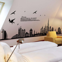 Gros Autocollants Pour Canapé Pas Cher-Beautiful Flight Cityscape Wallpaper Chambres Vinyle Big Wall Stickers Décoration d'intérieur Vintage Living Room Canapé Wall Art Decals