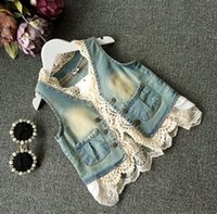 Wholesale Denim Waistcoat Girls - 2015 New Arrival girls Outwear fashion style kids denim Waistcoat with lace korean leisure with pockets children Cowboy jacket 5pcs lot T621