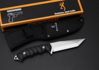 OEM Browning Couteaux à lame fixe 5Cr13Mov 57HRC Outdoor Camping Hunting Rescue Straight Knife Military Utility Survival Multi Hand Tools