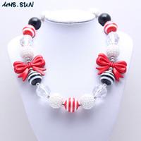 joyas de collar de moda negro grueso al por mayor-MHS.SUN Nueva Moda Bow Beads Kid Chunky Necklace Red + Black Color Bubblegum Bead Chunky Necklace Joyería de los niños para Niñas