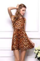 Wholesale Dress Bohenmia - 2016 Hot Fashion Women leopard dress Casual Pleated Dresses Bohenmia beach print sexy summer Mini dresses