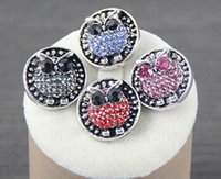 ingrosso bottoni a forma di gufo-12pcs lot nuovo gufo a buon mercato rhinestone pulsante a scatto fascino animale a forma di gufo pulsante a scatto di fascino misura gioielli braccialetto a scatto