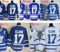 размер хоккейного джерси оптовых-На продажу Дешевые высококачественные трикотажные изделия для хоккея с шайбой # 17 Wendel Clark Jersey Лучшее качество вышивки Размер логотипа M-XXXL Принять заказ