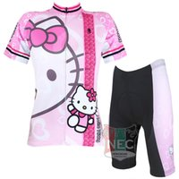 Wholesale Kitty Shorts - #022 Hello Kitty Pink color Women Short Sleeve Cycling Kit Bike outlet ciclo Jersey + Shorts Plus Size maillot Geniune Paladin