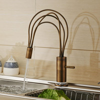 Wholesale Antique Sink Water Taps - Antique Brass Deck Mounted Flexible Spout Kitchen Sink Faucet One Lever Hot and Cold Water Mixer Tap