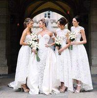 Wholesale high low style vintage wedding dress online - Vintage Lace Bridesmaid Dresses Modest High Low Wedding Guest Dresses Custom Made Styles Maid of Honor Dresses
