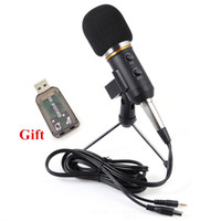 Wholesale Usb Conference Microphone - MK-F200FL Professional Handheld Condenser Microphone USB Computer Microphone Stand Tripod Wired 3.5mm Jack For Recording Studio