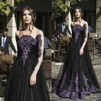 Wholesale Lady Beads For Formal Dress - Unique Gothic Black Spring Prom Dresses Sale Long Sleeves Purple Crystal Beads A Line Tulle Long Formal Evening Party Dress for Ladies