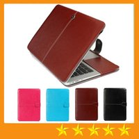 Portable Faux Leather Laptop Folio Book Wallet Cover Case para Macbook Air 11 13 polegadas Air Pro com Retina Laptop Protector Bag Folio grátis