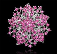 Wholesale Beautiful Chinese Women - Beautiful Large Rhinestone Crystal Brooch Chinese Redbud Flower Brooches Pins Women Wedding Party Dress Jewelry Accessories DCBJ04-B