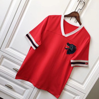 Wholesale V Neck Tee Shirts Men - 18ss Luxury Europe Italy V neck Tshirt Fashion Men Women Wolf Head T Shirt Casual Red Streetwear Tee Top