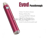 Wholesale Passthrough T2 - Evod USB Passthrough Battery 650 900 1100mAh USB charger fit MT3 EVOD WAX T3D RDA glass globe H2 T2 dual coil head protank e cigs atomizer