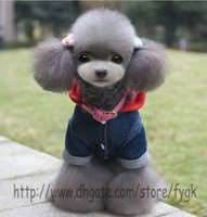 Wholesale Dog Cowboy Costumes - Autumn and winter teddy Pet Dog Chihuahua Cowboy Cozy Jeans Denim pet Clothes Thickening jeans Four Legs Costume Jacket Coat Suit