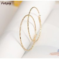 Wholesale Copper Cutouts - Wholesale- Fashion Big Circle Earrings Simple Personality   Plated Cutout Hoop Earrings A2592 BN0r