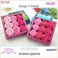 Wholesale Natures Soap - H.P.W Gift 9pcs pack Handmade box soap base Romantic Rose Flower Petal Shape Nature Essential Oil Bath Soap, base soap roses