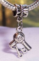 Wholesale Antique Hair Bracelet - Hot ! 50pcs Antique Silver Scissors Blow Dryer Hair Stylist Dangle Bead fit Silver European Charm Bracelets 31 x 15 mm Jewelry DIY
