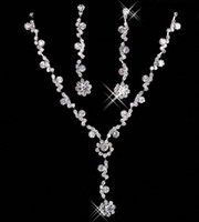 Wholesale wedding necklaces online - Cheap Bridal Charming Alloy Plated Rhinestones Crystal Jewelry Necklace Set for Wedding Bride Bridesmaid Prom Party