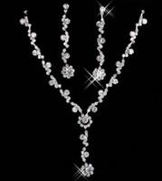 ensembles de bijoux en cristaux achat en gros de-Pas cher De Mariée De Charme Alliage Plaqué Strass Cristal Bijoux Collier Ensemble Pour Le Mariage De Demoiselle D'honneur De Bal Parti Livraison Gratuite 15049