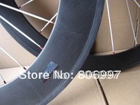 Wholesale Carbon Wheels Bike 88 - Wholesale-700c road bike wheels,(60+88)mm full carbon fiber clincher wheels with basalt braking surface(white hub+white CN spokes)