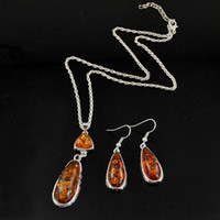 Wholesale Resin Teardrop Necklace - New Vintage Silver Amber Jewelry Set For Women Silver Plated Link Chain Resin Gemstone Pendant Necklaces Teardrop Earrings Sets-S0004