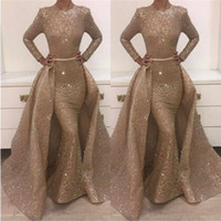 Wholesale Amazing Mermaid - Amazing Sparkle Long Sleeves Sequins Evening Dresses Mermaid Overskirt 2018 Popular Illusion Long Celebrity Formal Wear Gowns Prom Dresses