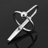 Wholesale Cock Sounding Toys Sizes - Hot Cock Plug Stainless Steel Sex Toys With 2 Size Ring Urethral Sound For Male Masturbation Plug Fetish Sexy Products 506