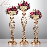 Wholesale wholesale gold candle holders - Creative Hollow Gold Metal Candle Holders Wedding Road Lead Table Flower Rack Home And Hotel Vases Decoration 1 Lot = 10 PCS