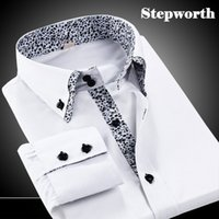 Wholesale Double Collar Shirt Men - Wholesale-Men Solid Single Breasted Double Collar White Black Dress Shirts 2015 New Designed Brand Fashion Business Shirts Y5