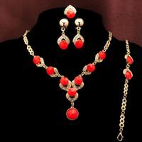 Wholesale Aquamarine Crystal Necklace - Newest fashion 18k Gold Plated Blue Red Orange Green beads Aquamarine Necklace Bracelet Earring Ring Wedding Jewelry Set lady