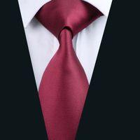 Wholesale Burgundy Necktie - Solid Burgundy Necktie for Men Jacquard Woven Silk Tie Business Party Formal Meeting 8.5cm Width Necktie D-0430