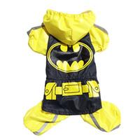 Wholesale Batman Rain Coat - Free shipping!Yellow Batman dog rain coat pet Jacket Windbreaker clothes,4 sizes available
