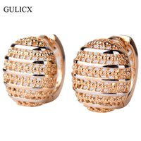 Atacado- GULICX 2017 Fashion Designer Semi-Ball Round Hoop Earring para mulheres Light Yellow Gold Color Earing Hollow Wedding Jewelry E401