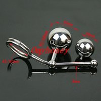 Wholesale Chastity Metal Ball - 2015 new luxury stainless steel anal toys with two balls, butt plug anal sex toys, sm products, chastity device belt, M020