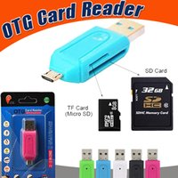 Wholesale Memory Cards For Tablets - 2 in 1 USB Male To Micro USB Dual Slot OTG Adapter With TF SD Memory Card Reader 32GB For Android Tablet Samsung Smartphone With Retail Box