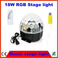 Wholesale Dmx Sd Card - Wholesale-2PCS mp3 player 18W LED Stage Light RGB Crystal Magic Ball Effect DMX Control Disco DJ Party Stage Lighting + USB SD card slot