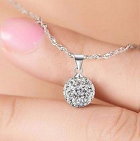 Hot 925 Sterling Silver Necklace Chain 10mm Crystal Rhinestone Ball Pendentif Collier pour Ladies Christmas Gift