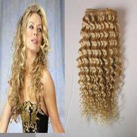 26 extensiones de cabello clip humano rubio al por mayor-# 613 Bleach rubia Afro Kinky rizado Clip en pelo 100g 7pcs / Lot 4A / 4b / 4cafrican clip americano en extensiones de cabello humano