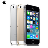 Wholesale unlocked iphone 5s wholesale - 100% Original Factory Unlocked apple iphone 5s phone 16GB   32GB ROM IOS White Black GPS Gold GPRS A7 IPS LTE Free Gift 1 year warranty