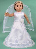 Wholesale Doll Wedding Dresses American Girl - 2015 New Fashion Christmas Gifts For Children Girls Doll Accessories Princess White Wedding Dress For 18'' American Girl Doll
