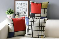 3pcs / lot annata Cotone Lino cassa del cuscino caso Cuscino 45x45cm Geometrico Lattice Rosso Blu Giallo Home Decor Couch