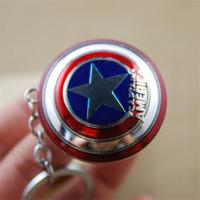 Wholesale Platinum Movie - Avengers Captain America Shield keychain Key Ring Metal Pendant bag hangs Fashion jewelry for Women Men Drop Shipping RETAIL PACKING