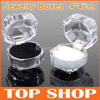 Wholesale Transparent Crystal Box Jewelry Acrylic - Transparent Jewelry Boxes Holder 4*4cm For Rins Earrings Stud Dust Plug Crystal Acrylic 20PCS Wedding Gifts ZB0005